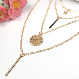 Jewelry - 'Sky' Layered Coin Bar Star Necklace